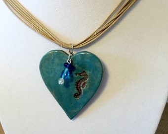 """Seahorse Heart Pendant Necklace 18"""" with Glass Beads Unique Stoneware Handmade"""