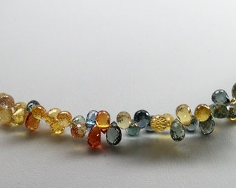 Spectacular gem quality multicolor sapphire teardrop Briolette beads necklace. 14 kt lobster clasp. Collectible. PSB01A