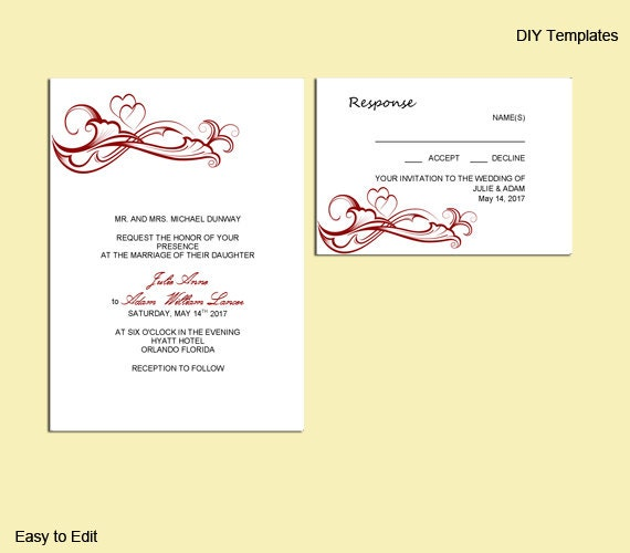 Items Similar To Emily 14 DIY Wedding Invitation Template And Matching Rsv