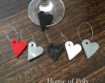 Wine glass charms. Set of 6 heart wine glass charms. Polymer clay wine glass tags. Heart charms