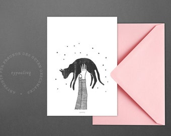 Postkarte Hi Cat / Hold, Arms, Air, Card, Postcard, Greeting Card, Envelope, Present, Message, Letter