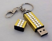 Swarovski Rhinestone USB Flash Drive Memory Stick Keychain, 32GB Data Memory Storage, Unique Handmade Custom USB Purse Charm