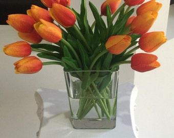 Orange Tulip Arrangement, 20 Tulips Floral Centerpiece, Orange Tulip Centerpiece, Realistic Tulips, Faux Water, Tulip Centerpiece, Yellow