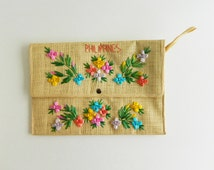 Spring/Summer Vintage Straw/Rafia Flowered Envelope Clutch, Colorful Handmade Flowers, Philipines
