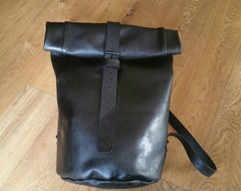 Leather backpack leather rucksack backpack leather roll up