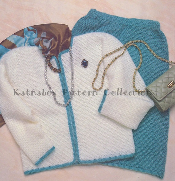 Crochet Ladies Chanel-Style Skirt & Jacket Pattern Set