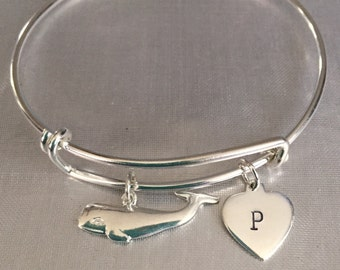 Whale and initial sterling silver charm and bracelet