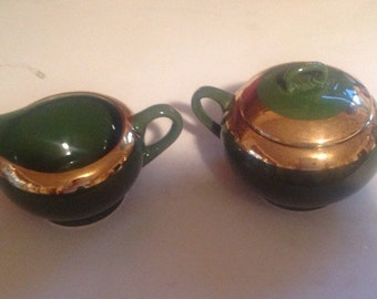 Vintage,Green O Gold Sugar Bowl and Creamer, vintage, midcentury, christmas, st patricks day