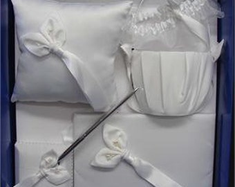 Stunning Bridal Collection Wedding Set Flower Basket, Guest Book, Pen Set, Ring Pillow, Garter Very Attractive, Available in White or Ivory