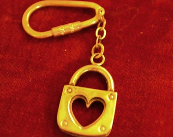 Vintage sterling silver-gold plated keychain heart shaped/silver keychain/keychain/an.365