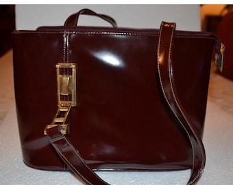 Leather handbag in bordeaux-brown colour/leather handbag/classical handbag/an.595