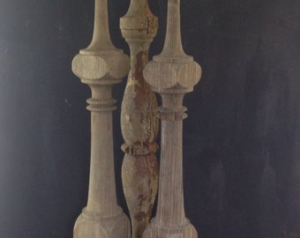 3 Antique Chippy Wooden Railing Spindles 100+ Years Old 2 ft Tall