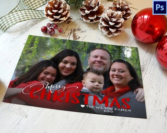 Photo Christmas Card Template, PHOTOSHOP TEMPLATE, INSTANT Download, Photographer template, Commercial Use