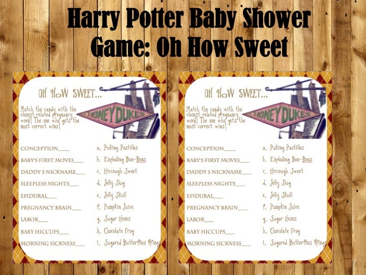 Harry Potter Baby Shower Game Oh How Sweet Baby Shower Game
