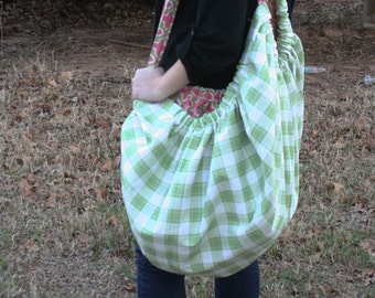Pink and Green Reversible Slouchy Bag