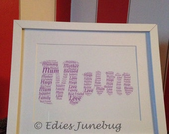 Mum Word Cloud, Purple Home Decor, Typography Frame, Birthday Gift, Christmas Gifts For Mum, Mummy Gifts, Keepsakes For Mum