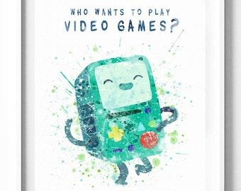Adventure Time, BMO, Beemo, Art Print, Poster, Watercolor Art, Painting, Printable, Digital, Kids, Nursery, Baby, Home Decor, Wall Art, Gift