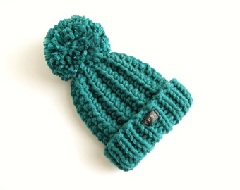 Teal blue/green toddlers pom pom bobble hat. HoBo Handmade toddlers chunky knit beanie. Wool blend. Extra large pom pom. Toddler boys/girls