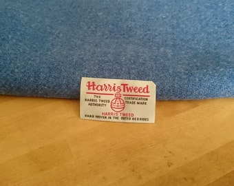 Harris Tweed Cloth Fabric Mid Blue Luxury Handwoven 100% Pure Virgin Wool handwoven in Outer Hebrides Scotland