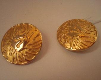 Vintage Anne Klein LIon's Head Logo Clip On Earrings