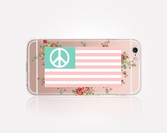 Floral American Flag Clear Phone Case - Clear Case - For iPhone 8, 8 Plus, X, iPhone 7 Plus, 7, SE, 5, 6S Plus, 6S,6 Plus,Samsung S8,S8 Plus