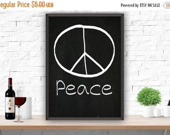 SALE Peace Sign Chalkboard Printable Wall Decor Digital Black and White Instant Download 8x10, 16x20, A4