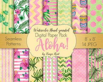 Tropical Digital Paper Pack Aloha party Seamless Patterns Watercolor Hand-Painted Digital Paper Scrapbooking Watercolor Paper