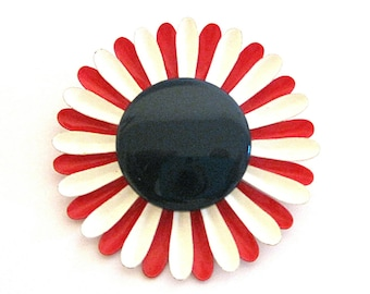 Vintage Red White Blue Enamel Pin Large MOD Daisy Brooch