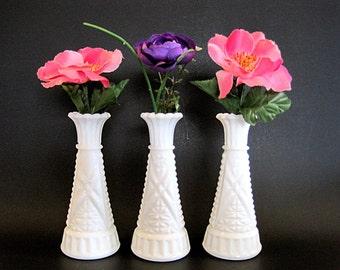 Vintage 3 Milk Glass Bud Vases Wedding Centerpiece Decor Garden Party