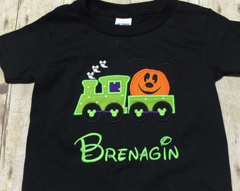 Personalized mickey pumpkin Halloween train shirt, embroidered disney shirt, disney shirt