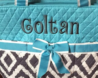 monogrammed diaper bag 3 piece set personalized blue gray
