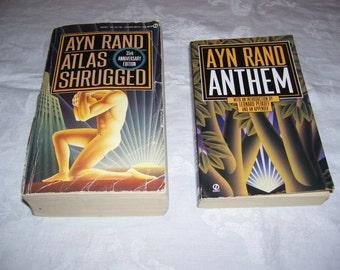 Atlas Shrugged Anthem by Ayn Rand Pair Pbs Vintage