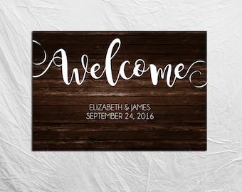Rustic Wedding Welcome Sign, Custom Printable