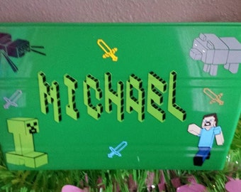 Minecraft Easter Basket,  Sand Bucket, Toy Bin, Party Favor Personalized
