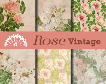 Digital paper Rose Flower Vintage