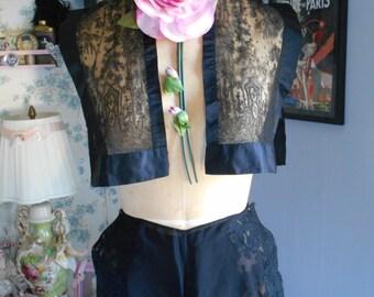 Beautiful 1930's Black Chantilly Lace Bolero