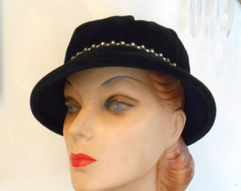 Beautiful Black Valour Hat with Rhinestone Trim and Tassel