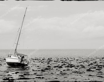 Black and white photography seascape boat on the shore wall art photo home decor sea low tide landscape print