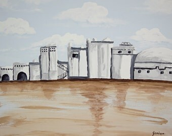 Painting acrylic canvas white village spain art home decor wall art decoration artwort