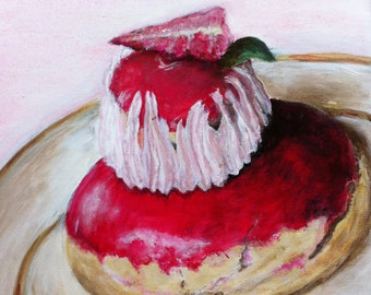 acrylic painting stawberry cake, cakes, acrylic table cake, religious strawberry, pink, red, s