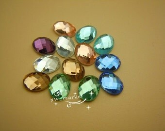 100 PCS 6mm X 8mm Oval Glass Faceted Glass Flat Back Jewels