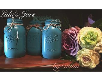 Handmade Painted 32 oz Mason jars, centrepieces, Mason jar vases, wedding decor