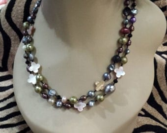 Two strand assorted fresh water pearls and shell necklace