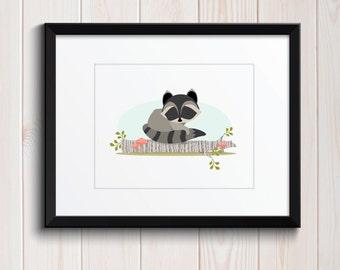 Sweet Baby Raccoon Woodland Friend Print