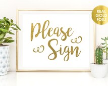 Guest Book Sign / Please Sign Print in REAL GOLD Foil / Sign Globe Signs / Sign A Heart Wedding Sign /  REAL Gold Foil / Peony Theme