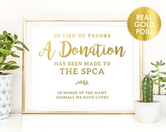 WEDDING DONATION SIGNS in Gold Foil / In Lieu of Favors Donation Signs / Charity Donation Signs / Custom Wedding Favor Signs