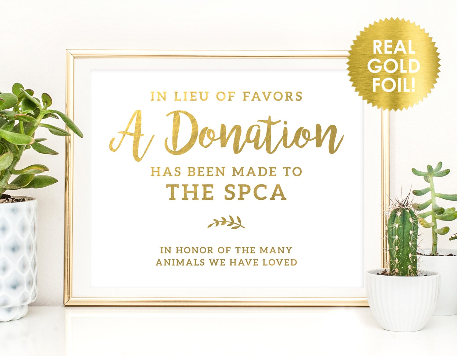 WEDDING DONATION SIGNS in Gold Foil / In Lieu of Favors Donation ...