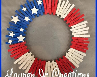 Americana Wreath,Fourth 4th of July, Red, White, Blue, Stars & Stripes, Patriotic Freedom Home Decor Memorial, Veteran, Proud American Flag