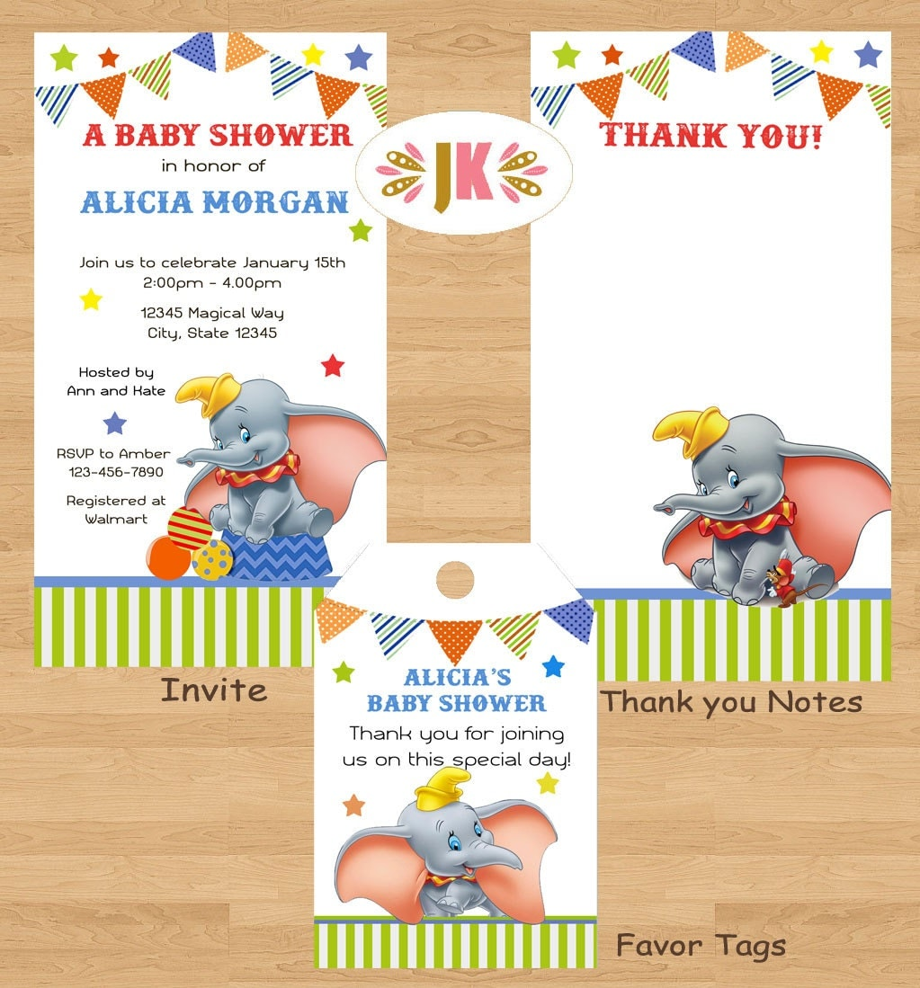 dumbo inspired printed invitations boy baby shower or