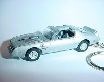 3D 1979 Pontiac Trans am custom keychain by Brian Thornton keyring key chain finished in silver color trim diecast metal body hood opens t/a